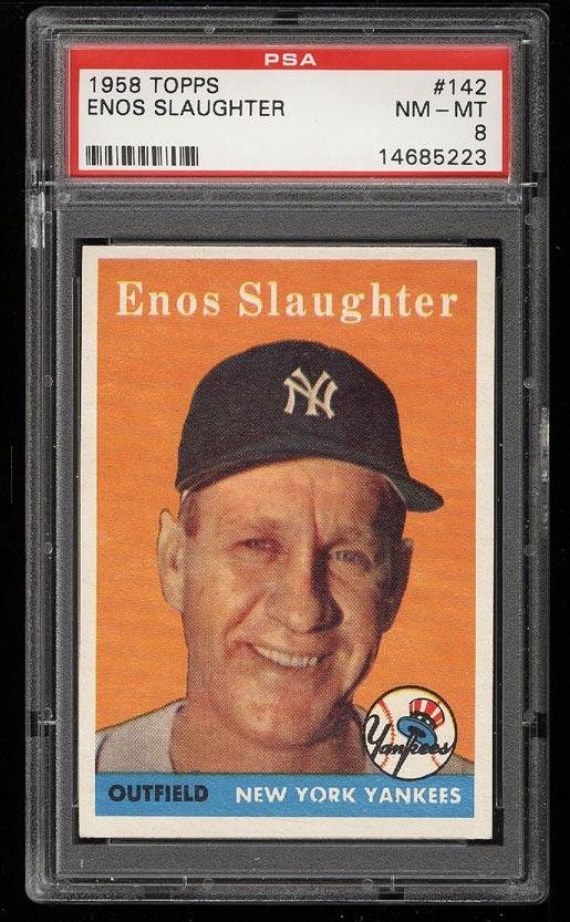 Image of: 1958 Topps Enos Slaughter #142 PSA 8 NM-MT (PWCC)