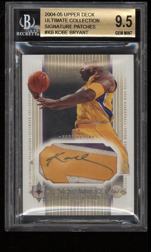 Image of: 2004 UD Ultimate Collection Kobe Bryant PATCH AUTO /25 BGS 9.5 GEM MINT (PWCC)
