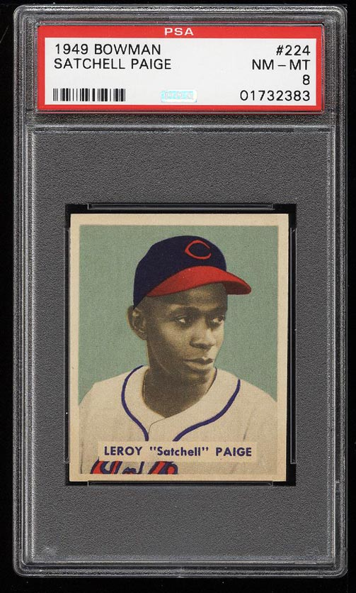 Image of: 1949 Bowman Satchell Paige ROOKIE RC #224 PSA 8 NM-MT (PWCC)