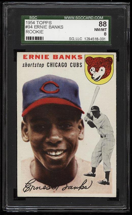 Image of: 1954 Topps Ernie Banks ROOKIE RC #94 SGC 8/88 NM-MT (PWCC)