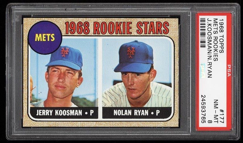 Image of: 1968 Topps Nolan Ryan ROOKIE RC #177 PSA 8 NM-MT (PWCC)
