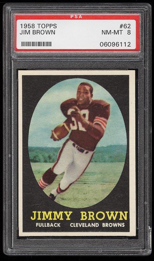 Image of: 1958 Topps Football Jim Brown ROOKIE RC #62 PSA 8 NM-MT (PWCC)