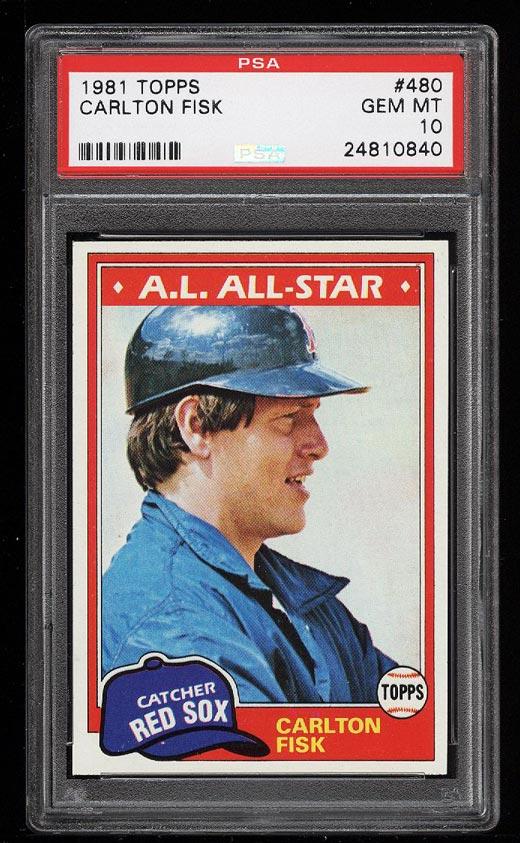 Image of: 1981 Topps Carlton Fisk ALL-STAR #480 PSA 10 GEM MINT (PWCC)