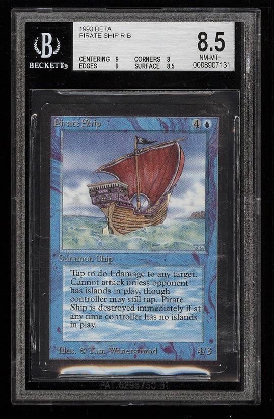 Image of: 1993 Magic The Gathering MTG Beta Pirate Ship R B BGS 8.5 NM-MT+ (PWCC)