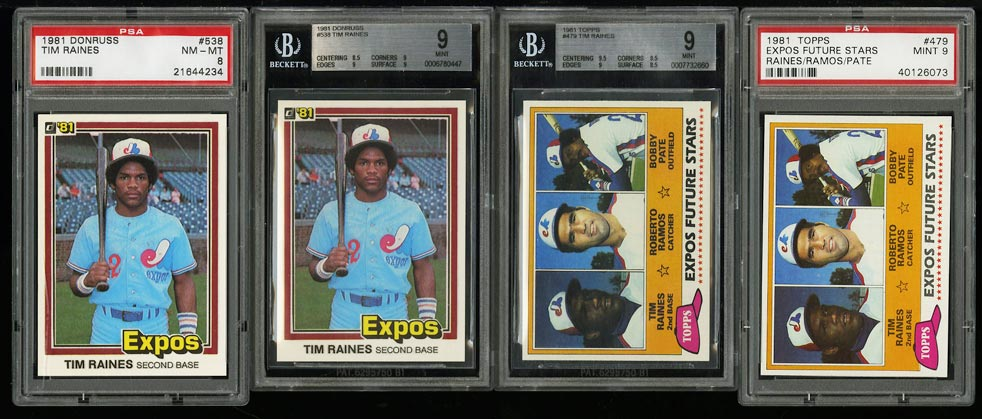 Image of: Lot(4) 1981 Donruss Topps Tim Raines ROOKIE RC, MOST BGS PSA 9 MINT (PWCC)