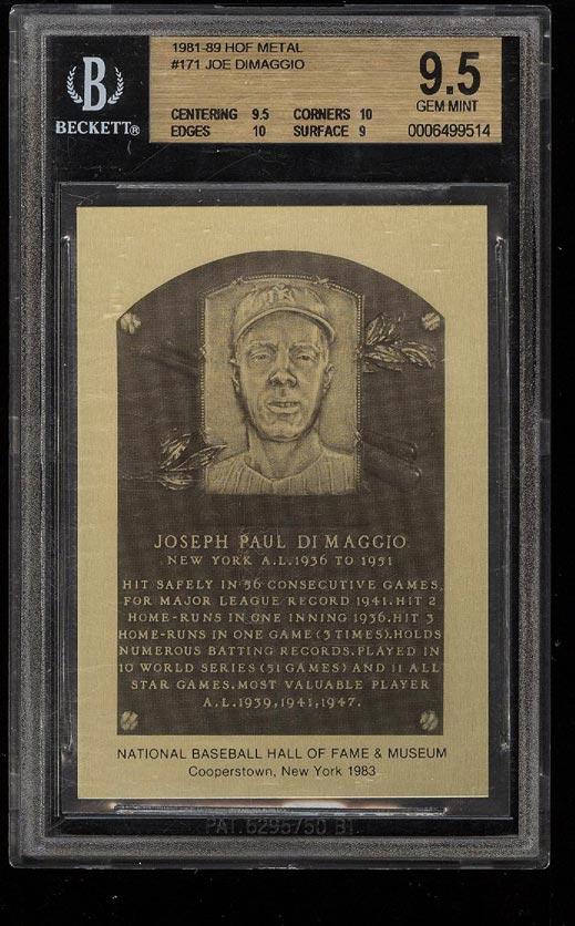 Image of: 1981-89 Metal HOF Plaque Joe DiMaggio #171 BGS 9.5 GEM MINT (PWCC)