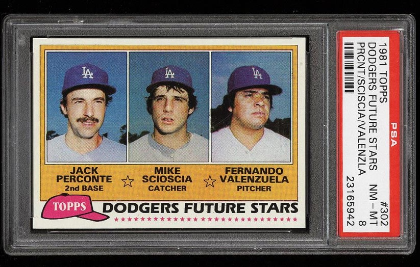 Image of: 1981 Topps Fernando Valenzuela & Mike Scioscia ROOKIE RC #302 PSA 8 NM-MT (PWCC)