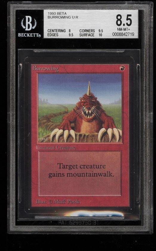 Image of: 1993 Magic The Gathering MTG Beta Burrowing U R BGS 8.5 NM-MT+ (PWCC)