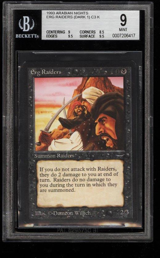 Image of: 1993 Magic The Gathering MTG Arabian Nights Erg Raiders DARK 1 C3 K BGS 9 (PWCC)