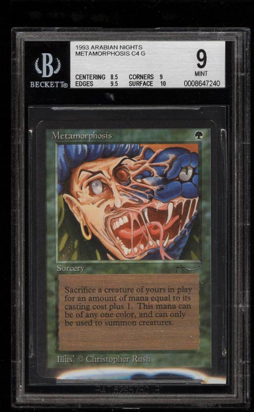 Image of: 1993 Magic The Gathering MTG Arabian Nights Metamorphosis C4 G BGS 9 MINT (PWCC)