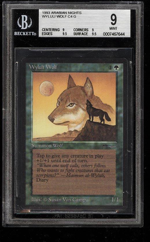 Image of: 1993 Magic The Gathering MTG Arabian Nights Wyluli Wolf C4 G BGS 9 MINT (PWCC)