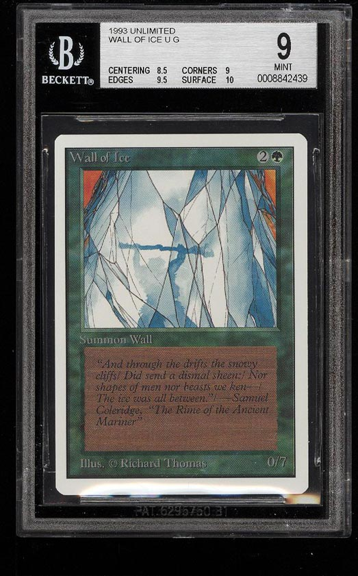 Image of: 1993 Magic The Gathering MTG Unlimited Wall Of Ice U G BGS 9 MINT (PWCC)