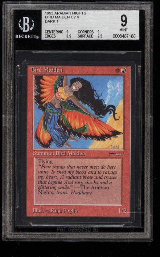 Image of: 1993 Magic The Gathering MTG Arabian Nights Bird Maiden DARK 1 C2 R BGS 9 (PWCC)