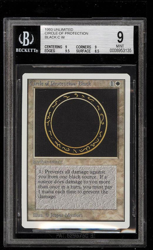 Image of: 1993 Magic The Gathering MTG Unlimited Circle Of Protection Black BGS 9 (PWCC)