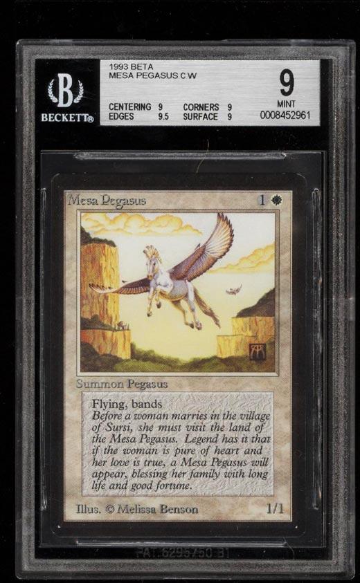 Image of: 1993 Magic The Gathering MTG Beta Mesa Pegasus C W BGS 9 MINT (PWCC)