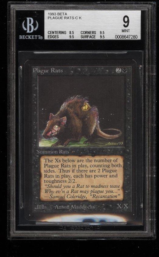 Image of: 1993 Magic The Gathering MTG Beta Plague Rats C K BGS 9 MINT (PWCC)