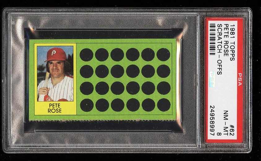 Image of: 1981 Topps Scratch-Offs Pete Rose #62 PSA 8 NM-MT (PWCC)
