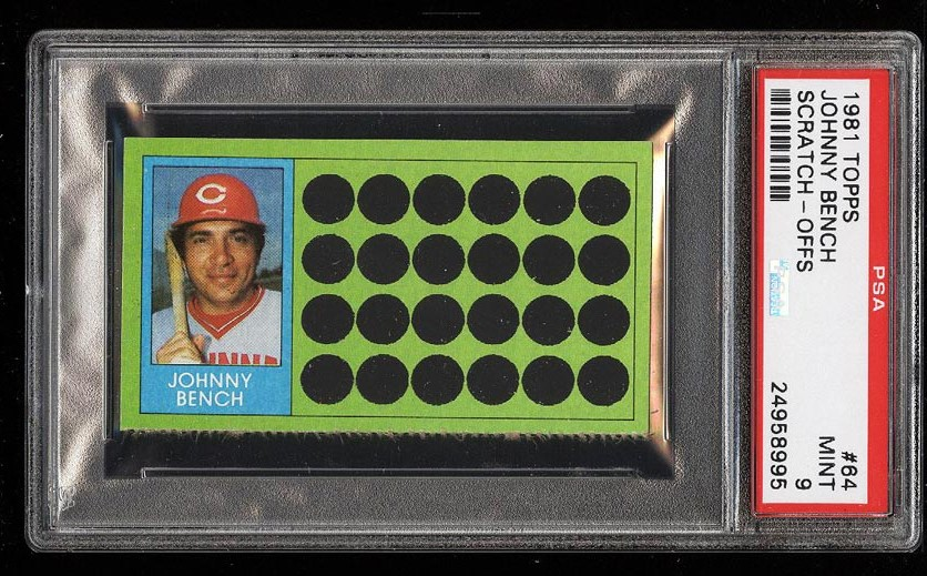Image of: 1981 Topps Scratch-Offs Johnny Bench #64 PSA 9 MINT (PWCC)