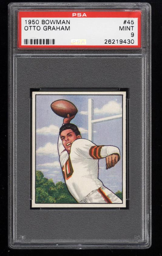 Image of: 1950 Bowman Football Otto Graham ROOKIE RC #45 PSA 9 MINT (PWCC)