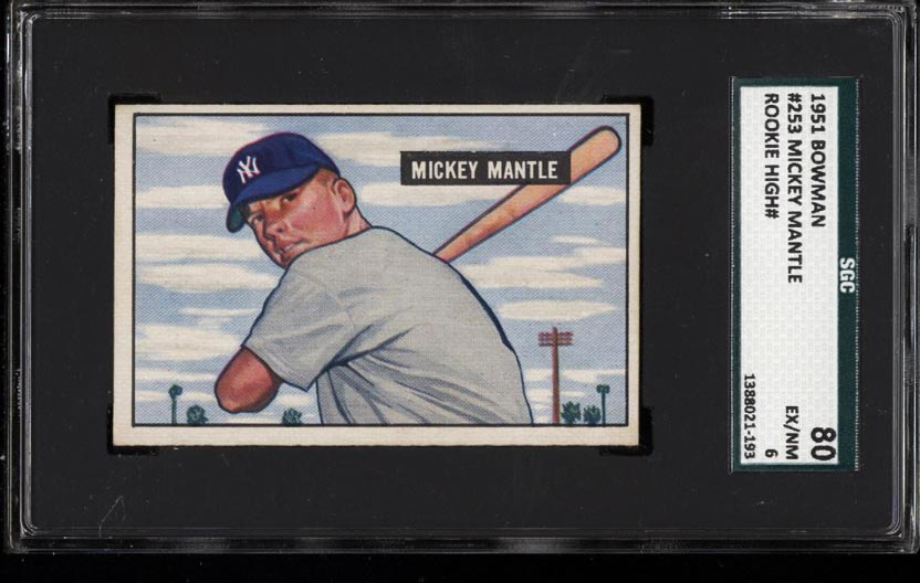 Image of: 1951 Bowman Mickey Mantle ROOKIE RC #253 SGC 6/80 EXMT (PWCC)