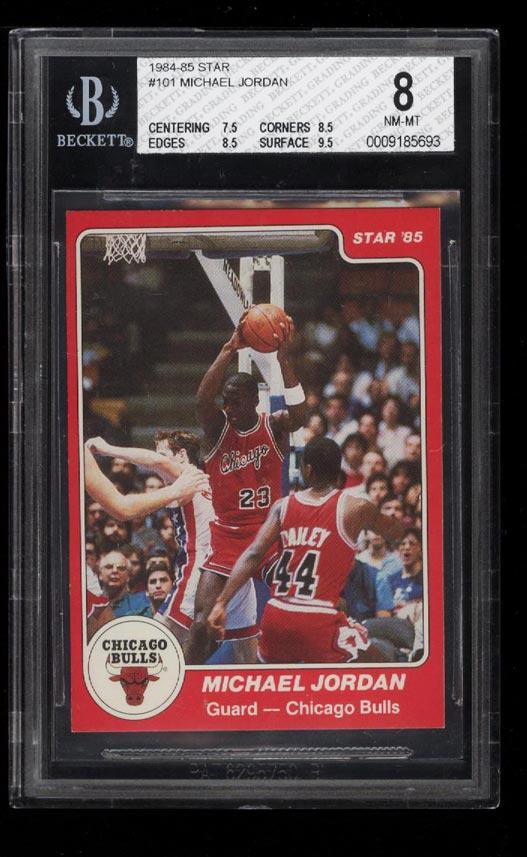 Image of: 1984-85 Star Basketball Michael Jordan ROOKIE RC #101 BGS 8 NM-MT (PWCC)