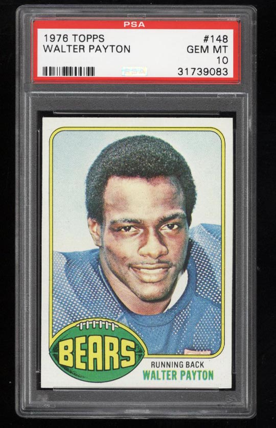 Image of: 1976 Topps Football Walter Payton ROOKIE RC #148 PSA 10 GEM MINT (PWCC)