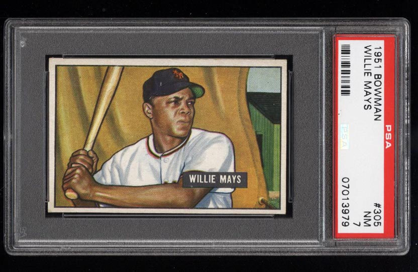 Image of: 1951 Bowman Willie Mays ROOKIE RC #305 PSA 7 NRMT (PWCC)