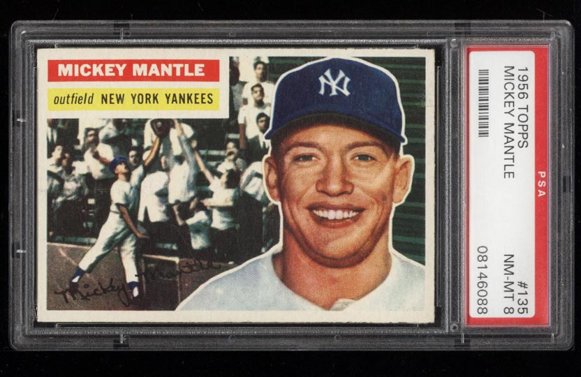 Image of: 1956 Topps Mickey Mantle #135 PSA 8 NM-MT (PWCC)