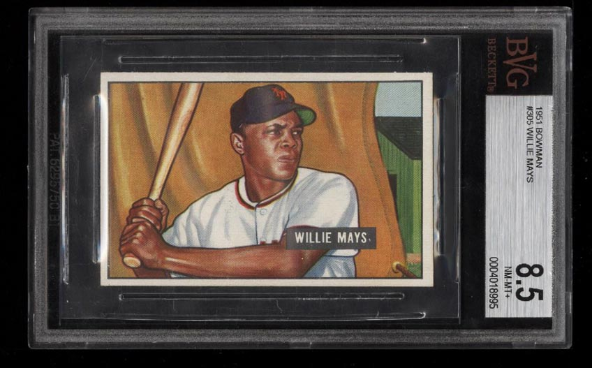 Image of: 1951 Bowman Willie Mays ROOKIE RC #305 BVG 8.5 NM-MT+ (PWCC)
