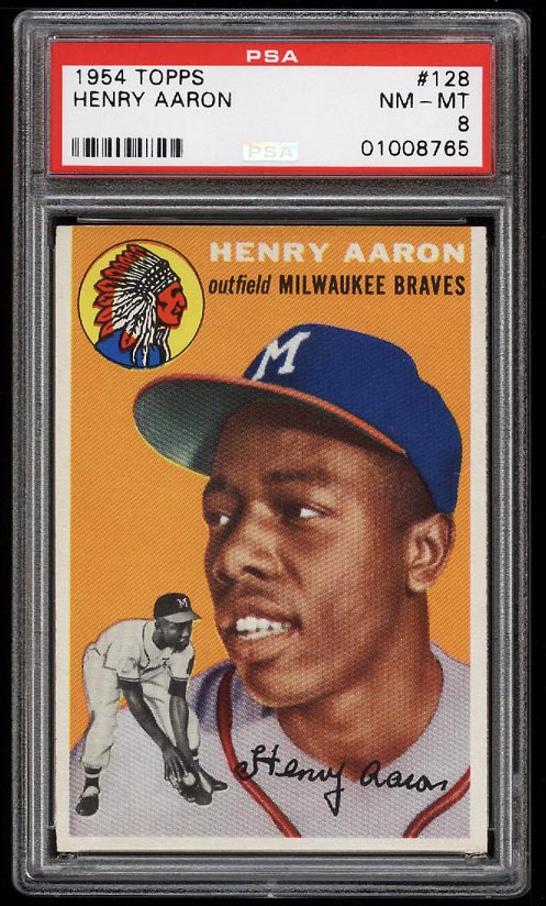 Image of: 1954 Topps Hank Aaron ROOKIE RC #128 PSA 8 NM-MT (PWCC)