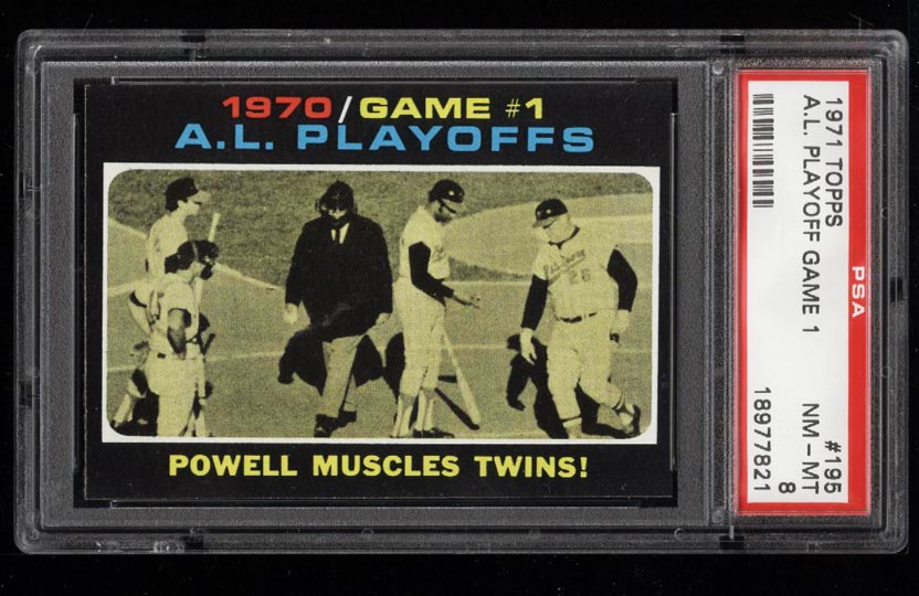 Image of: 1971 Topps Boog Powell AL PLAYOFF GAME 1 #195 PSA 8 NM-MT (PWCC)