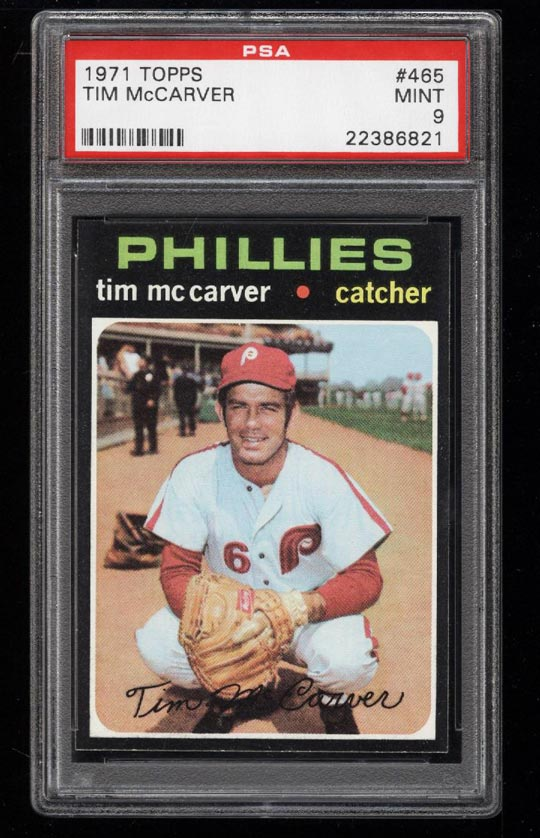 Image of: 1971 Topps Tim McCarver #465 PSA 9 MINT (PWCC)