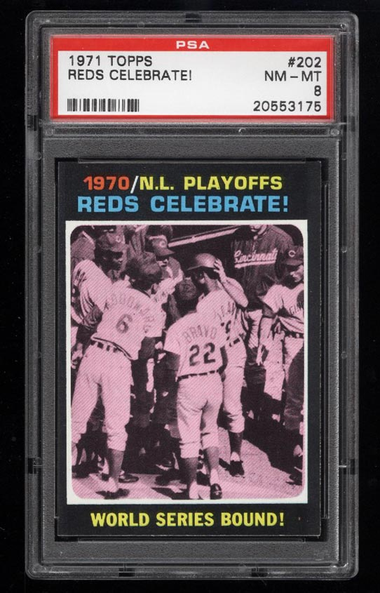 Image of: 1971 Topps Reds Celebrate! #202 PSA 8 NM-MT (PWCC)