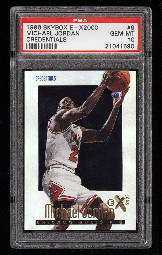 Image of: 1996 Skybox E-X2000 Credentials Michael Jordan /499 #9 PSA 10 GEM MINT (PWCC)