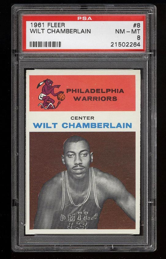 Image of: 1961 Fleer Basketball Wilt Chamberlain ROOKIE RC #8 PSA 8 NM-MT (PWCC)