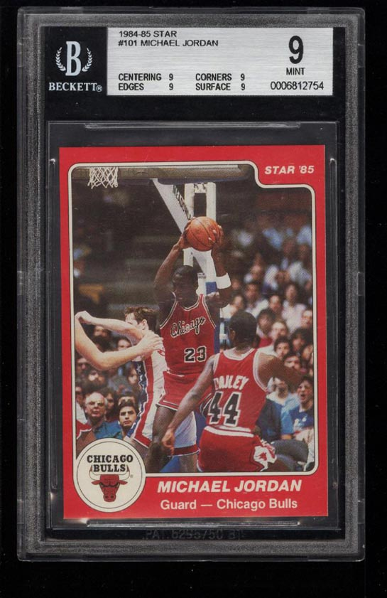 Image of: 1984-85 Star Basketball Michael Jordan ROOKIE RC #101 BGS 9 MINT (PWCC)