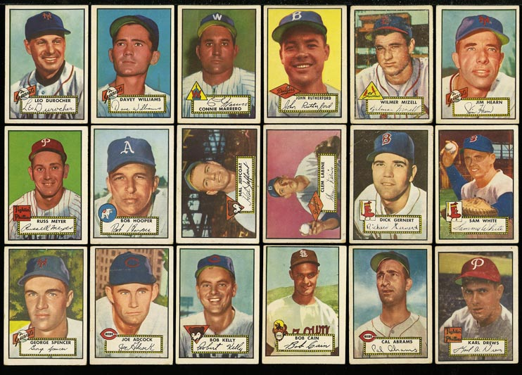 Image of: Lot(56) 1952 Topps Hi-Numbers w/ Durocher Wilhelm Dressen Wade, GD to VG (PWCC)