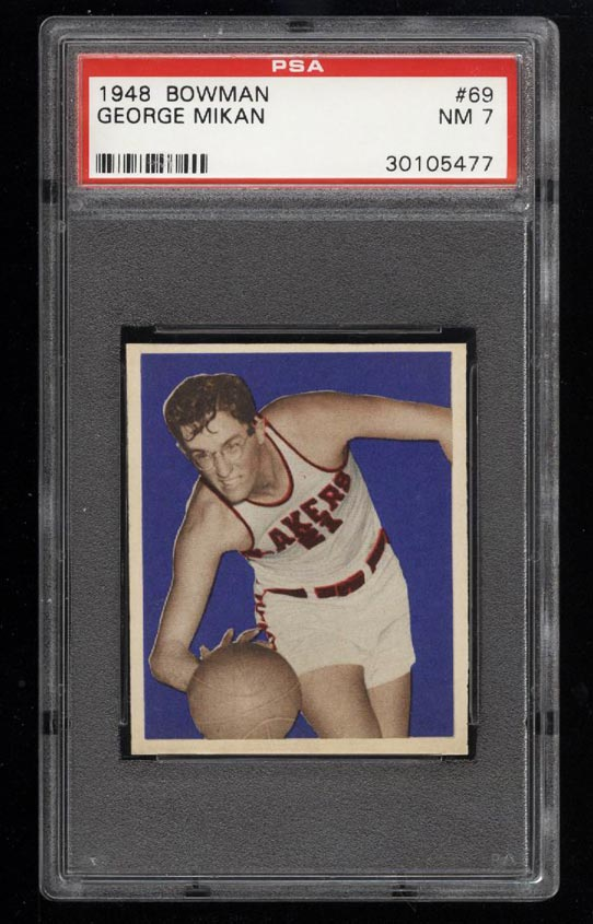 Image of: 1948 Bowman Basketball SETBREAK George Mikan ROOKIE RC #69 PSA 7 NRMT (PWCC)