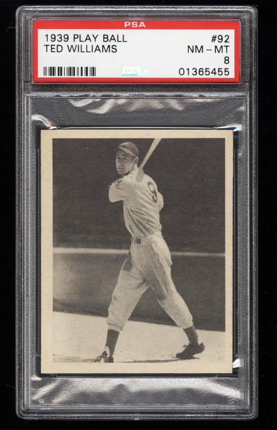 Image of: 1939 Play Ball Ted Williams ROOKIE RC #92 PSA 8 NM-MT (PWCC)