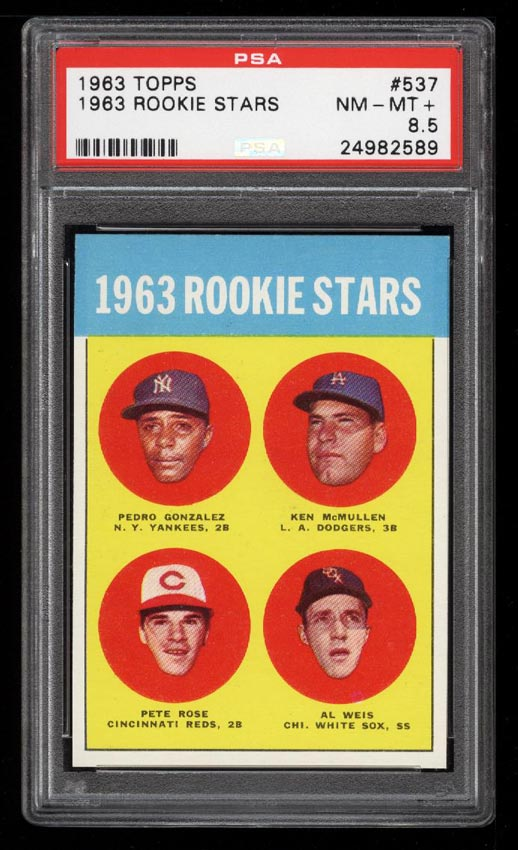 Image of: 1963 Topps Pete Rose ROOKIE RC #537 PSA 8.5 NM-MT+ (PWCC)