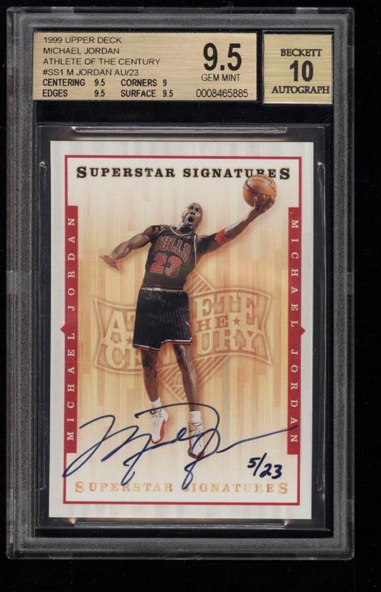 Image of: 1999 UD Athlete Of The Century Superstar Michael Jordan AUTO /23 BGS 9.5 (PWCC)
