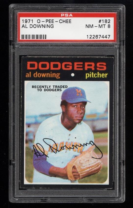 Image of: 1971 O-Pee-Chee Al Downing #182 PSA 8 NM-MT (PWCC)