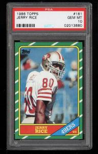 Image of: 1986 Topps Football Jerry Rice ROOKIE RC #161 PSA 10 GEM MINT (PWCC)