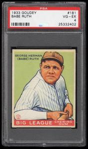 Image of: 1933 Goudey Babe Ruth #181 PSA 4 VGEX (PWCC-HE)