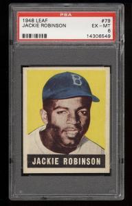 Image of: 1948 Leaf Jackie Robinson ROOKIE RC #79 PSA 6 EXMT (PWCC)