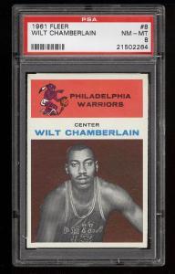 Image of: 1961 Fleer Basketball Wilt Chamberlain ROOKIE RC #8 PSA 8 NM-MT (PWCC)