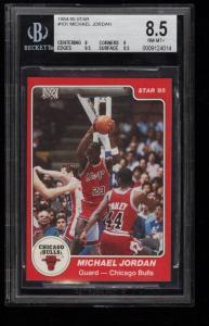Image of: 1984-85 Star Basketball Michael Jordan ROOKIE RC #101 BGS 8.5 NM-MT+ (PWCC)