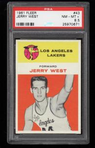 Image of: 1961 Fleer Basketball Jerry West ROOKIE RC #43 PSA 8.5 NM-MT+ (PWCC)
