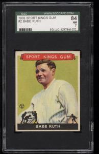 Image of: 1933 Goudey Sport Kings Babe Ruth #2 SGC 7/84 NRMT (PWCC)