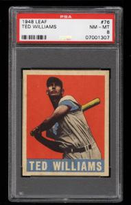 Image of: 1948 Leaf Ted Williams #76 PSA 8 NM-MT (PWCC)